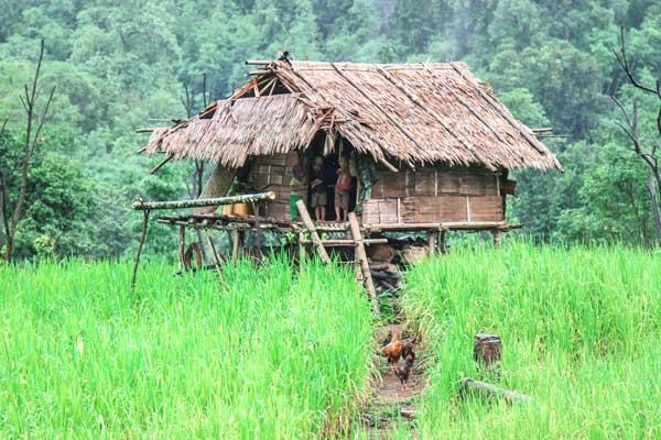 Typical housing in remote Karen areas of Myanmar.