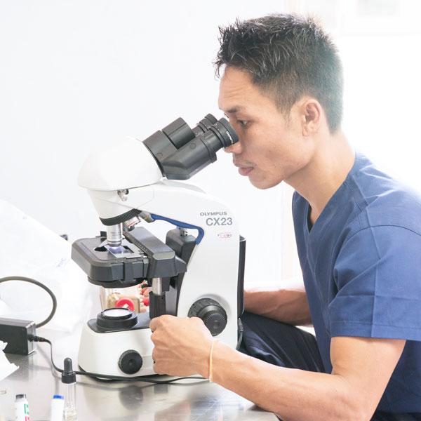 a microscope technician doing a lab test